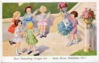 ドイツ ヴィンテージポストカード(バースデー/小さな合唱団)